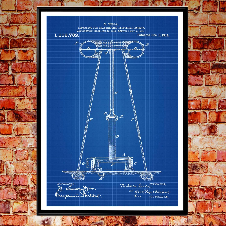 Tesla patent poster science gift nikola tesla patent prints tesla patent poster science gift nikola tesla patent prints blueprint poster wall art patent print engineer gift wb027 malvernweather Images