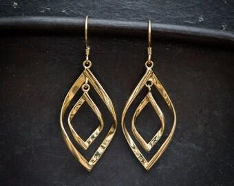 Gold Drop Earrings, Twist Earrings, Unique Earrings, Modern Earrings, Gold Vermeil