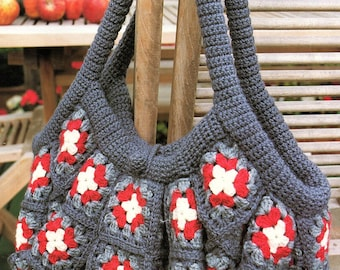 Afghan Bag, Granny Square, Crochet Pattern. PDF Instant Download.