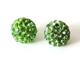 1 x bead ball 8mm PERIDOT green Crystal rhinestones