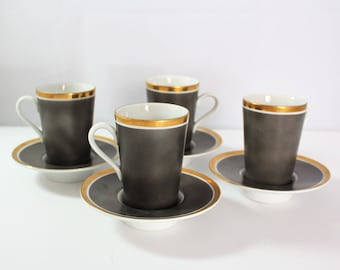 Sale Set of 4 grey, gold and white demitasse cups and saucers by Fitz and Floyd