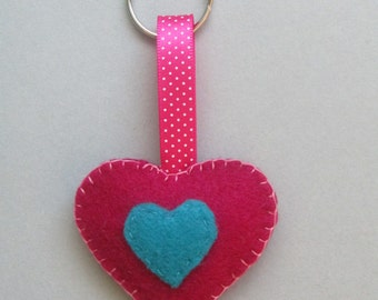 Heart Keyring/Keychain/Keyfob, Party Favor, Stocking Filler, Valentines Day Gift