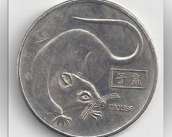 Chinese Lunar Year of the Rat Mouse Vintage Commemorative Coin