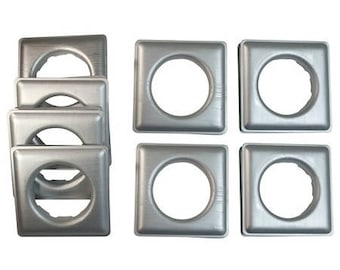 "Fast-set Metal, #12 Square Grommet, 1 9/16"", 8 Sets, Frost Silver"