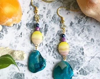 Ocean Earrings, Beach Earrings, Beads, Mother-of-Pearl, Seashell, Blue, Yellow