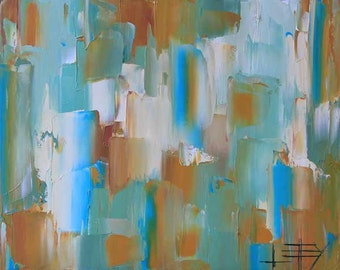 Abstract Painting, Abstract Art, 16x20, Abstract Art, Coastal Art, Textured Painting, Abstract Oil,Turquoise,Teal, Palette Knife, Modern Art