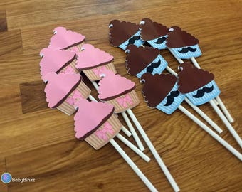 Cupcake Toppers: Gender Reveal Stud Muffin or Cupcake Theme - Die Cut Pink Bow & Blue Mustaches