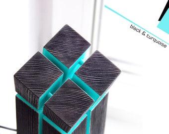 "Table lamp ""INCLINE"" | black&turquoise | Desk lamp | Bedside lamp | Geometric light | Wood lamp"