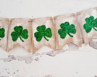 Rustic Shamrock St. Patrick's Day Banner, Clover Burlap Banner, St Patrick's Banner, St. Patrick's Day Decor B064