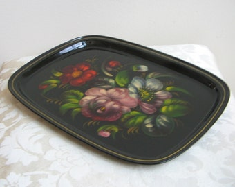 Vintage Russian Hand Painted Floral Tray With Tole Flowers on Black Lacquer Metal, Bohemian Folk Art, Anthropologie Style