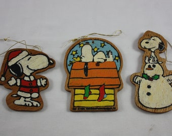 Snoopy Peanuts Christmas Ornaments Set of 3 Wooden Painted On Both Sides Snoopy On Dog House Santa Snoopy Snowman Snoopy Set #1