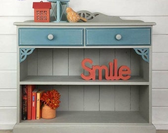 Bookcase, Hand painted, Grey and Blue, Shabby Chic, Upcycled, Pine