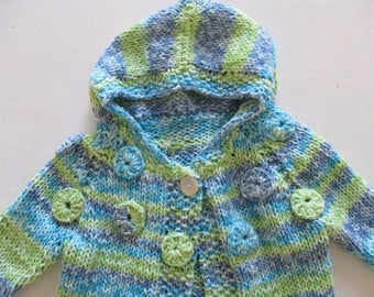 Blue  Green Baby hoodie, spotted newborn hooded jacket, gender neutral, handmade baby clothes, baby shower gift, unisex knitted clothes, top