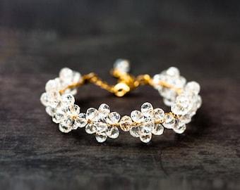 White crystal bracelet Gold bracelet Wedding bracelet Flower bracelet Bridal bracelet Floral bracelet Gold wire bracelet White bracelet 694