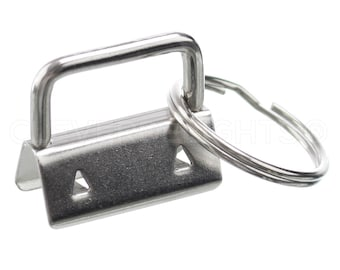 """50 Sets - 1"""" Key Fob Hardware With Key Rings - For Lanyards Keychains Straps - Strong Silver Color KeyFob Hardware - 1 Inch - 25mm"""