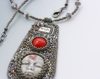 Bead Embroidery Necklace. Wish. Face cabochon. Vintage Swarovski cab.