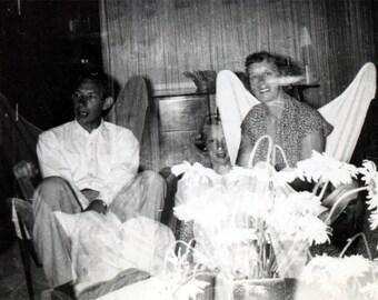 vintage photo 1959 Abstract Double Exposure Couple Girl snapshot photo