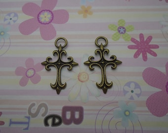 10pcs antique bronze cross findings 48x30mm