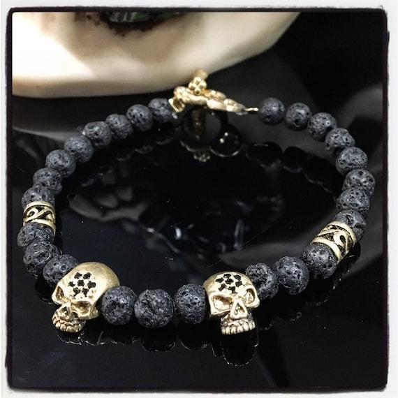 Etherial Jewelry - Rock Chic Talisman Luxury Custom Handmade Artisan Pure Sterling Silver .925 Double Skulls with Black Lava Stones Bracelet