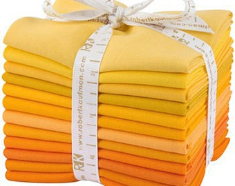Robert Kaufman Kona Cotton Solids Citrus Burst Fat Quarter Bundle 12 Precut Cotton Fabric Quilting FQs FQ-912-12