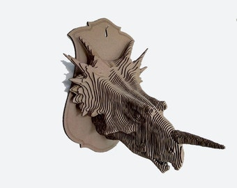 Cardboard Styracosaurus trophy head