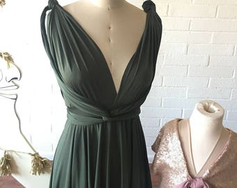 "Ready Made- 28"" Long Standard Vineyard Greenery Dark Olive -Octopus Infinity Convertible Short Wrap Dress"