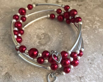 Red Glass Bead Memory Wire Bracelet
