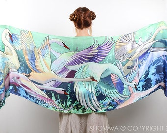 Swan Scarf, Swan Clothing, Turquoise Shawl, Something Blue, Blue Wedding Scarf, Bridal Gift, Sheer Shawl, Painted Scarf, Japanese Clothing