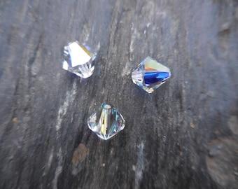 Crystal Swarovski bicone 8 mm: 3 beads crystal AB