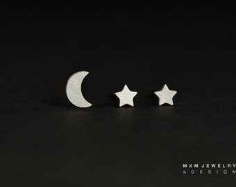 Sterling Silver Moon & Mini Stars Stud Earrings
