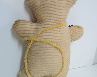 Vintage Chenille Handmade Bear, Repurposed Tea Stained Chenille Bear, Vintage Chenille Bear Home Decor or Chenille Toy - V130