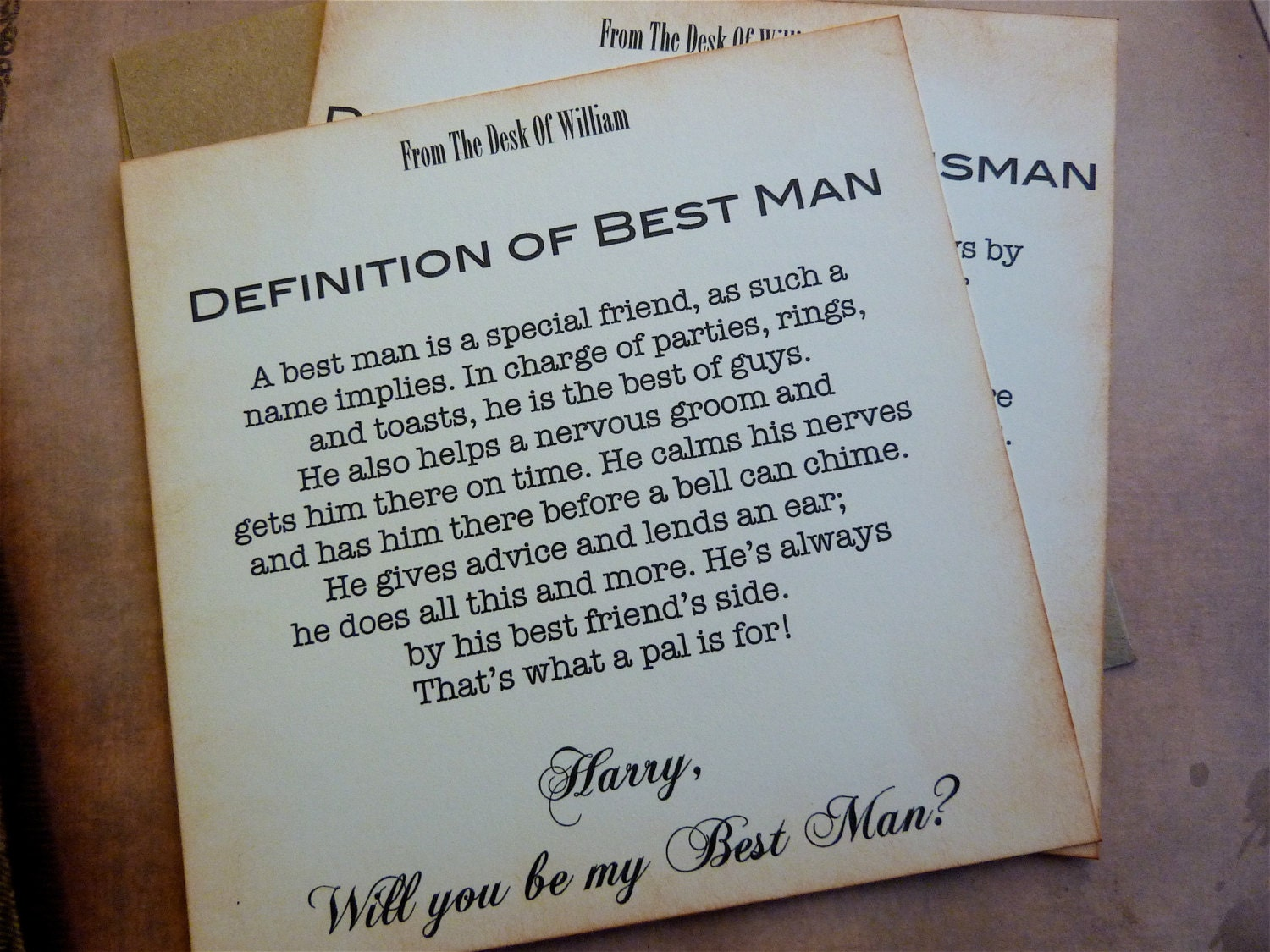 Will you be my best man invitation vintage inspired classic request a custom order and have something made just for you stopboris Choice Image
