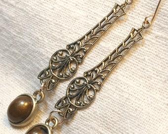 Edwardian earrings, Victorian earrings, gold filigree earrings, Edwardian jewelry, Titanic jewelry, Downton Abbey earrings, vintage earrings