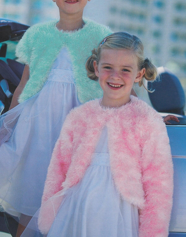 knitting pattern for girls eyelash cardigans boleros in sizes 22 to ...
