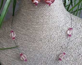 set with fuchsia colored glass beads