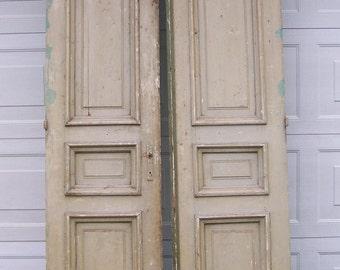 Antique Mediterranean Wood Doors With Raised Panels,european Doors,chippy  White Green Doors,two Panel Door,carved Wood Door,old Heavy Doors