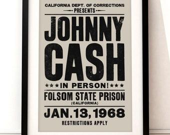Johnny Cash concert poster, Johnny Cash art print, music inspired print, typographic print, Folsom Prison, Johnny Cash print