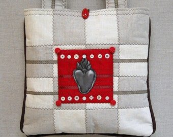 Art Quilt Tote - Purse - Fine Linen - Milagro - Burning Heart