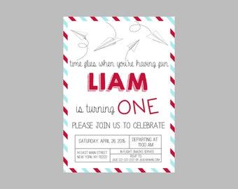 Paper plane invite Etsy
