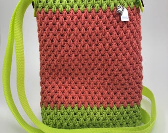 Crochet Purse - Melon and Lime Green 100% Cotton Yarn - Lined - Crochet Bag - Cross Body - Valentines Gift - Spring/Easter Gift - Butterfly