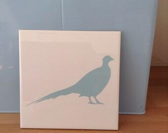 Ceramic tile with pheasant image