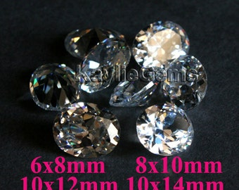 AAAAA Star Rated Oval Cubic Zirconia CZ  6x8mm, 8x10mm, 10x12mm, 10x14mm  Diamond Brilliant Cut - Diamond Clear -2pcs