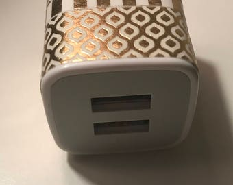 Gold and White Dual USB Wall Charger