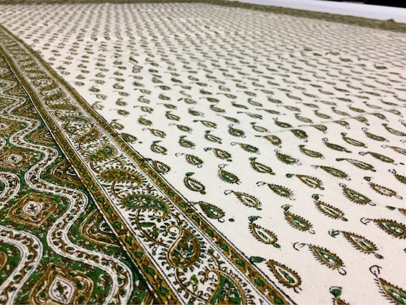 Large green paisley tablecloth or Bedspread -hand block printed cotton fabric with natural dyes and tassels