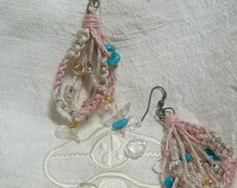 Hemp pierced earrings--PEACH