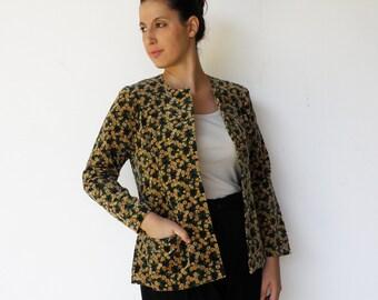 Vintage Velvet Jacket / 1970s Fitted Jacket / Size M