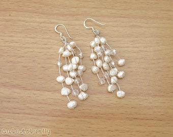 White freshwater pearl earrings with crystal on silk thread - sterling silver ear wires, bridal, dangle, long