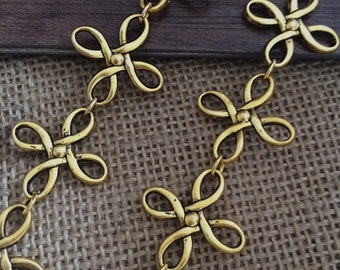 1m Antique gold  Necklace Chain  Flower Chain For Jewelry making