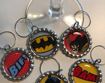 Comics Superheroes Flattened Bottle Cap Wine Charms, Wine Accessories, Party Favors, Bunco Prize, Stocking Stuffers - Set of 5
