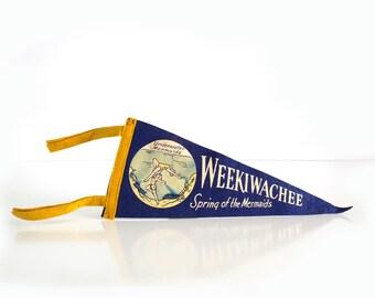 Vintage Weeki Wachee Pennant / Undewater Mermaids / 1950s Florida Souvenir / Felt Pennant